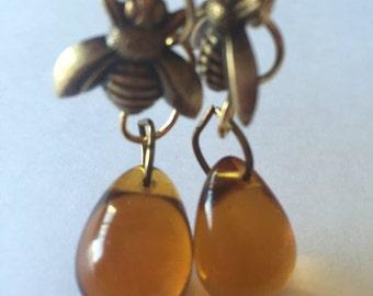 Honey Bee earrings, Honey Glass Drop earrings, Bee earrings, Bee Lover Jewelry