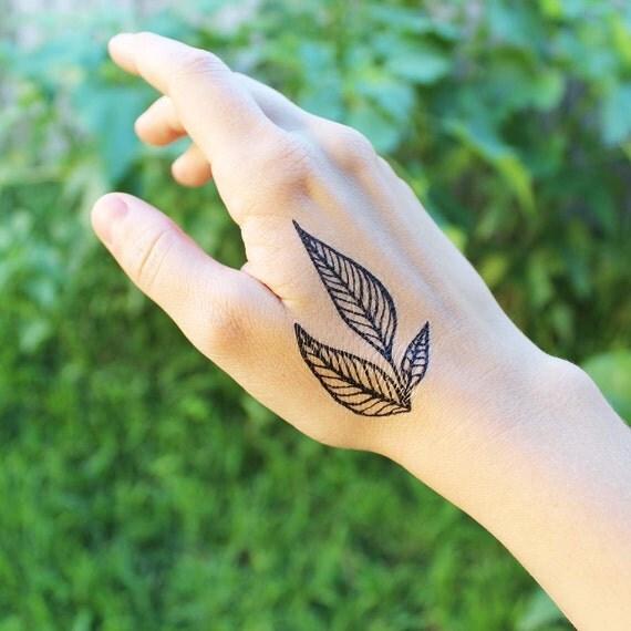 Triple Leaf Temporary Tattoo, Black Line Ink, Nature Tattoo, Spring Tattoo