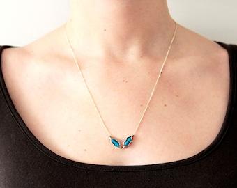V shape pendant, silver sterling pendant, 925, agate blue, gift for her, gemstone pendant, gift for her