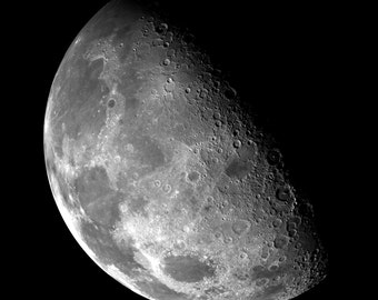 Moon Digital Photo - Moon Photography - Moon Photo Print - Square - Sky - Black White - Digital Photo - Digital Download - Boys Room Decor