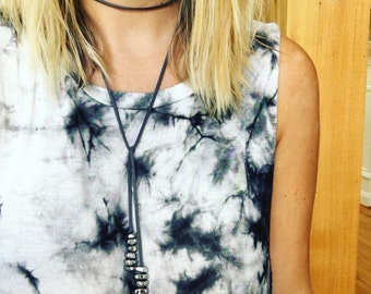 Gray Leather Pyrite Stone Necklace