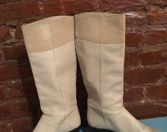 1970's vintage Gloria Vanderbilt creamy leather boots-size 7