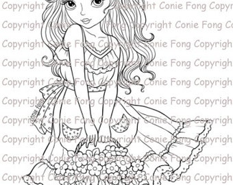 Digital Stamp, Digi Stamp, Digistamp, Sweet Annabelle by Conie Fong, Coloring Page, girl, flower, basket