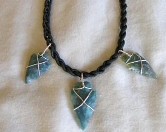 Arrowhead silver leather necklace