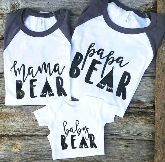 Mama Bear Graphic Tees Family Bear Shirts Mama Bear Shirt
