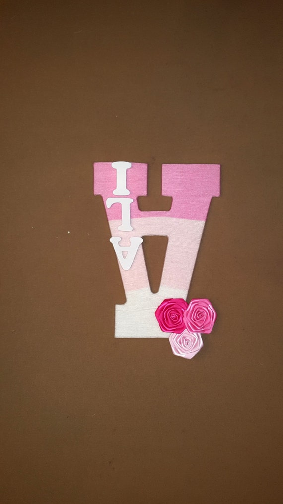nursery letter a custom baby name ombre pink yarn wrapped letter