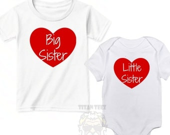 Valentine Sibling Outfits, Big Sister Little Sister Matching Outfits, Valentine Sister Shirts, Matching Sister Shirts, Little Sister Big Sis