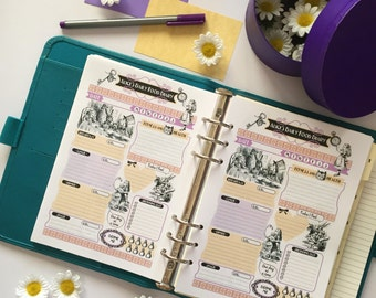 """Printable """"Alice's daily food diary"""" A5 size 148x210mm (print double sided) , INSTANT DOWNLOAD"""