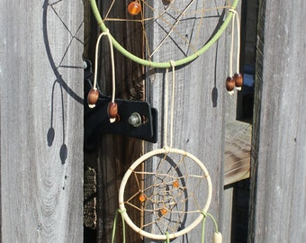 Large Green Dream Catcher with Orange Jewels