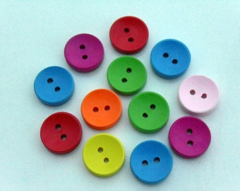 12 Round Wooden Buttons 2 Holes #EB6