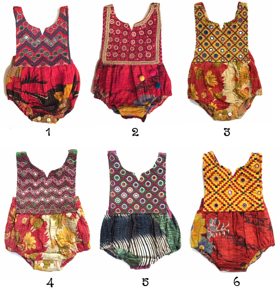 2t kantha romper vintage style baby clothing by