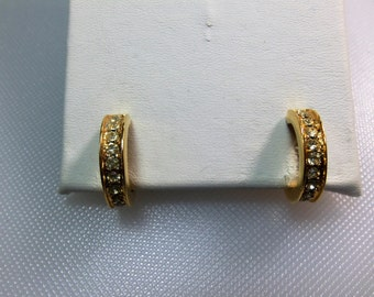 VIntage Gold Tone Clear Rhinestone Hoop Style Clip Earrings Marked Trifari with Crown over T