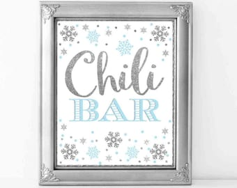 Chili Bar Sign, Blue and Silver Chili Bar Sign 8x10, Winter Onederland Decorations, Winter Baby Shower Decorations, Digital File.