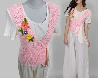 Vtg Palazzo Flared Jumpsuit Romper Crocheted Wiggle Festival 80s Maxi Dress Gown