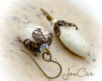 Vintage/Artisan White Turquoise  ~ Bermuda Earrings