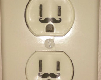 Mustache wall outlet decal