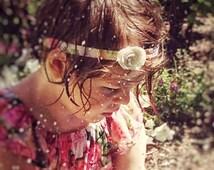 Vintage rose headband, small white flower, toddlers, girls, botanical bright, custom