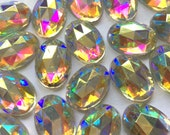 14X10mm Oval Iridescent Crystal AB Glass Rose Cut Faceted Foiled Cabochon with Flat Back and Low Dome - Sold as batch of four (4)