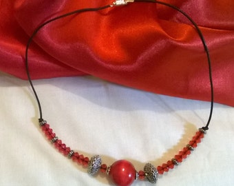 Red wooden bead pendant