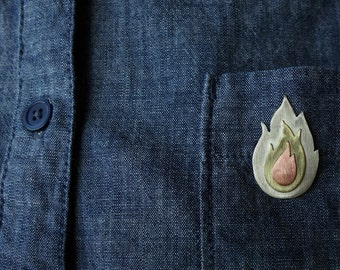 Little flame pin, three color brooch, cute fire gift
