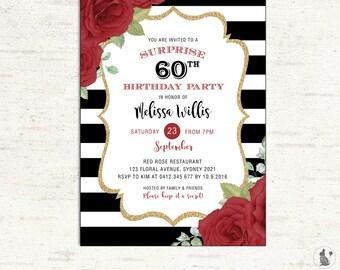 St Birthday Invitation Floral Black Gold Glitter Confetti - Black and white striped birthday invitations