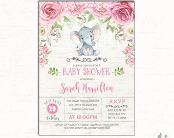 Pink Elephant Baby Shower Invitation. Floral Baby Shower Invite. Little Peanut Invitation. Jungle First Birthday. Watercolor Roses. RO1