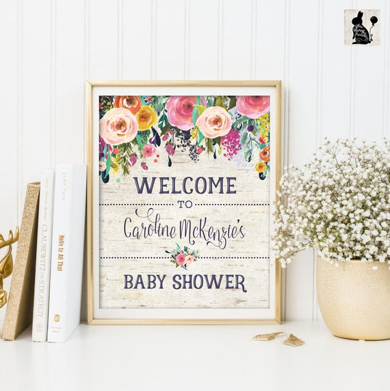 floral baby shower welcome sign flower personalized printable sign