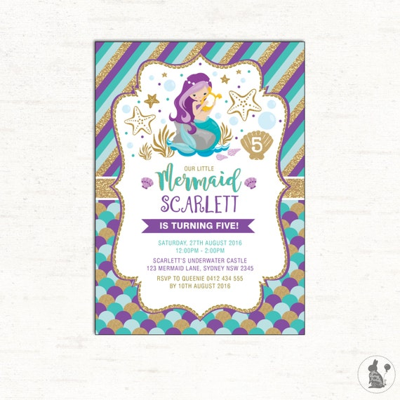 Mermaid invitation mermaid birthday invite first birthday il570xn filmwisefo