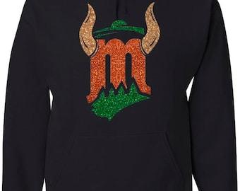 Black Hood Minnesota hybrids sports Sweatshirt with Glitter design (green, red and gold glitter) / Minnesota sweatshirt