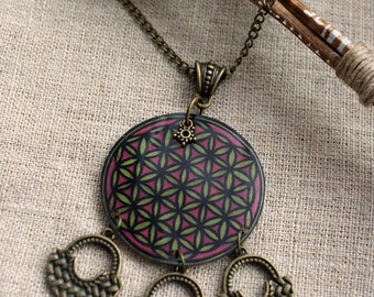 Necklace necklace ethnic flower of life fluorescent