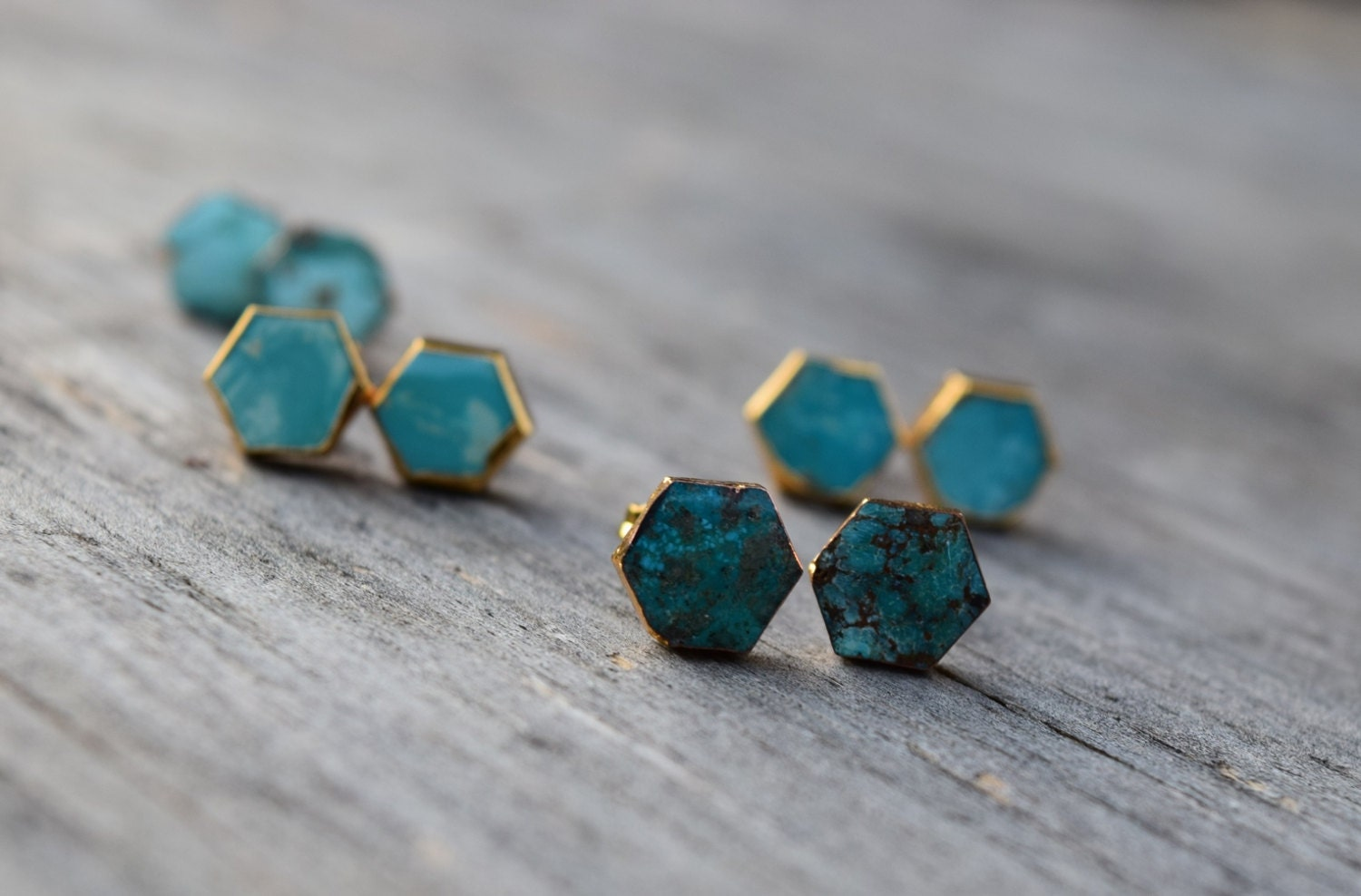 Natural Turquoise Stud Earrings Hexagon Raw Turquoise