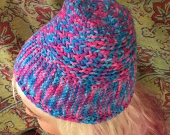 Cotton candy hand crocheted beanie
