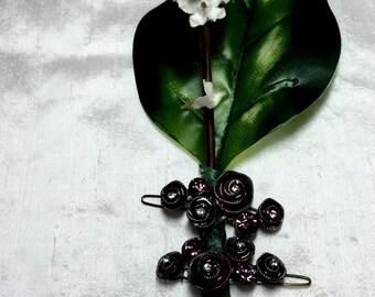 Ceramic rose hair clip