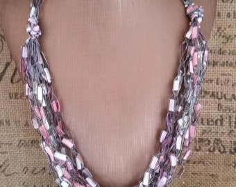 Pink and Silver Yarn Necklace Crocheted with Ladder/Ribbon Yarn