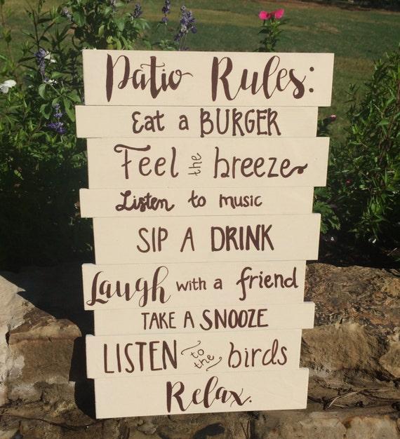 Patio Rules Outdoor Sign: Patio Rules Patio Sign Porch Rules Porch Sign Deck Rules