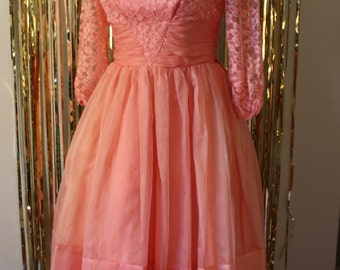 1950s Pink Tulle and Lace Fit and Flare