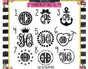 Monogram Icon Sale   Monogram Decal Sale   Monogram Sale Three Inch   1.99 Monogram   Yeti Decal Vinyl Monogram Sale