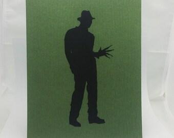 "Freddy Krueger Inspired Cut Paper Silhouette Portrait 8"" x 10"" Cut Out Art Portraits"