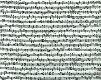 SALE - Musical Notes Fabric, By the Yard or Fat Quarter, FQ, Music Score, Musician Fabric, Sheet Music Fabric, Quilting Fabric