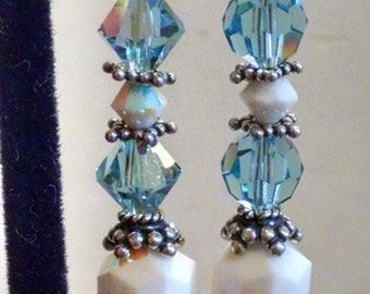 Dangle Earrings Featuring Swarovski Crystals and Silver Findings