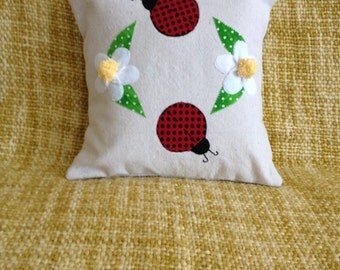 Ladybug Pillow, 12 x 12 Pillow, Daisy Pillow, Spring Pillow, Summer Pillow, Upcycled Canvas Pillow, Floral Pillow, Appliqué Pillow, Handmade