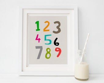 Nursery Numbers Print, Number Poster Nursery Art, 123 print, Nursery Prints Instant Download, Children's art, Baby Shower Gift, New Baby