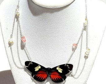 ON SALE real butterfly wing necklace. The dream real butterfly wing jewelery