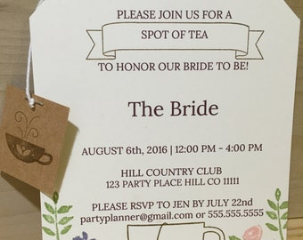 Handmade Tea Bag Invitation