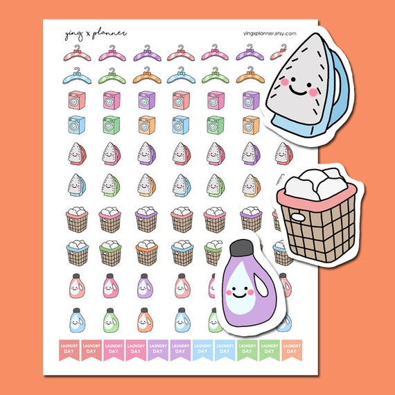 PRINTABLE Laundry Stickers Kawaii Laundry Stickers Printable