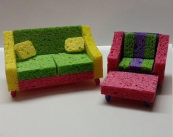 FREE DOMESTIC SHIPPING sponge barbie doll minature matchbox furniture, couch and chair with ottoman, coffee/end tables rocker