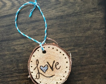 "Natural Birch ""Love"" Ornament"