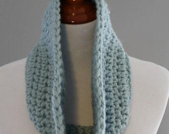 Light Blue Cowl, Wool Blend Cowl, Crochet Cowl