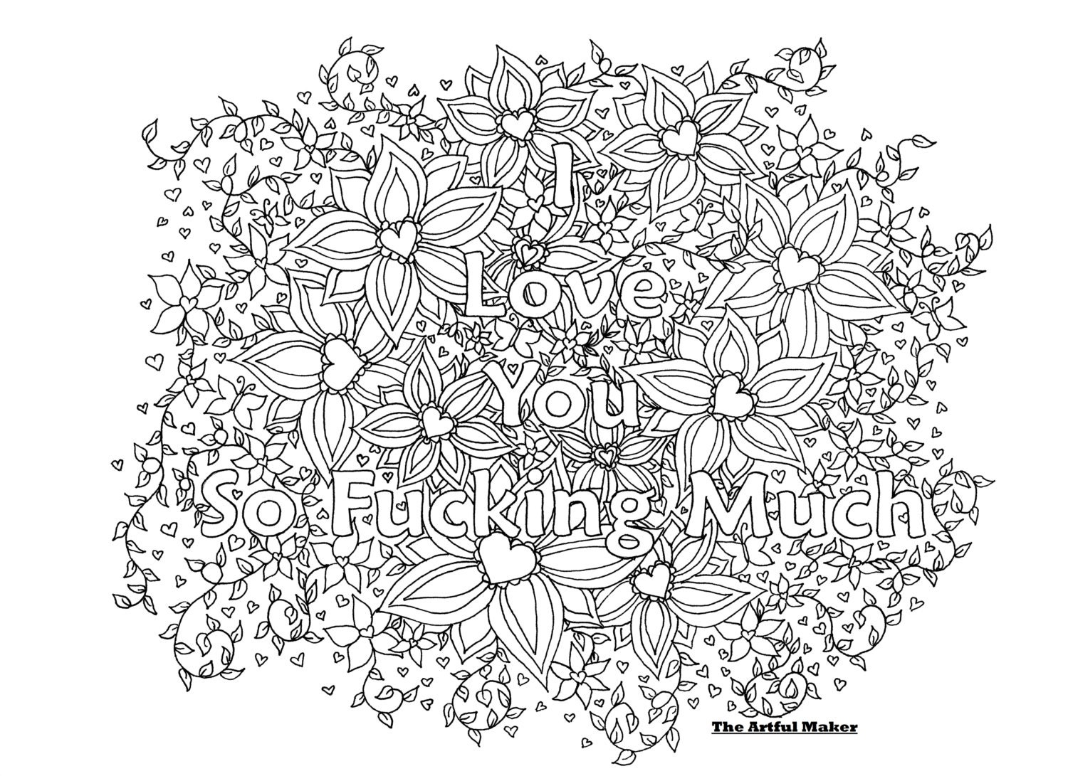 Uncategorized I Love You Coloring Page i love you so fucking much adult coloring page by the artful