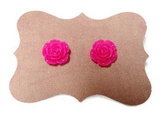 Hot Pink Rose Stud Earrings